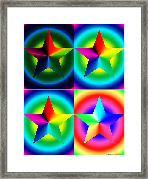 Chromatic Star Quartet With Ring Gradients Framed Print