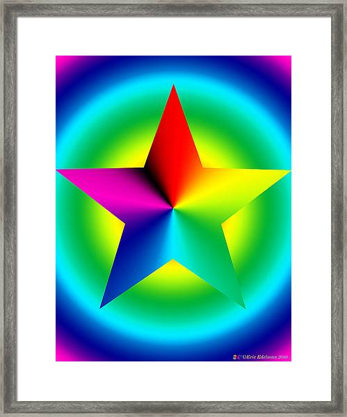 Chromatic Star With Ring Gradient Framed Print