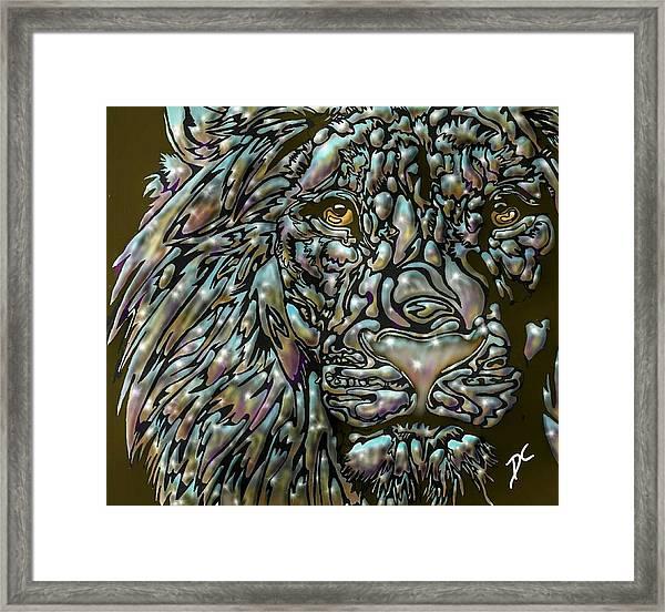 Chrome Lion Framed Print
