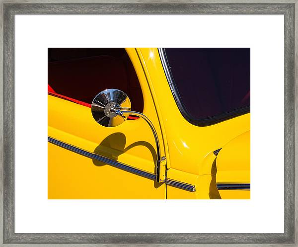 Chrome Mirrored To Yellow Framed Print