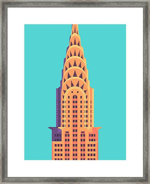 Chrysler Building - Cyan Framed Print