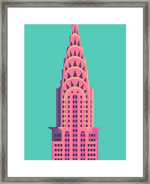 Chrysler Building - Green Framed Print