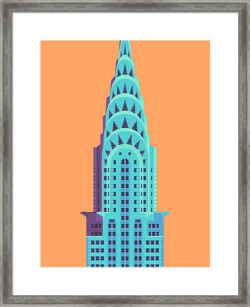 Chrysler Building - Orange Framed Print