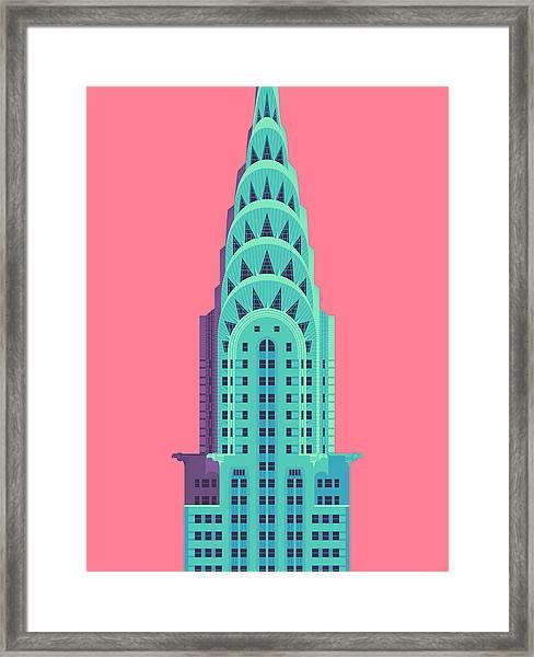 Chrysler Building - Red Framed Print