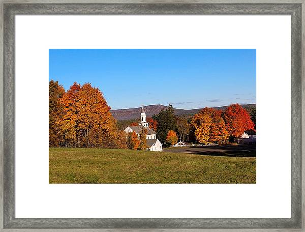 Church And Mountain Framed Print