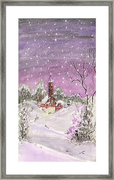Church In The Snow Framed Print