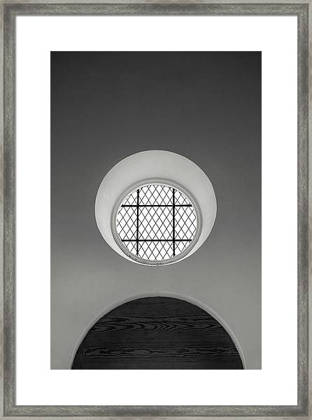 Church Window In Black And White Framed Print