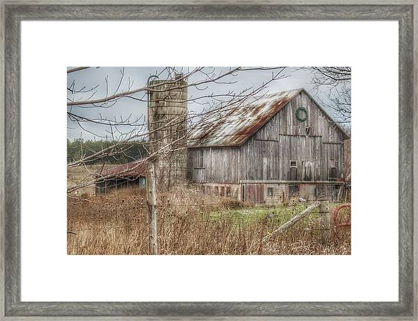 0008 - Churchill Christmas Barn Framed Print
