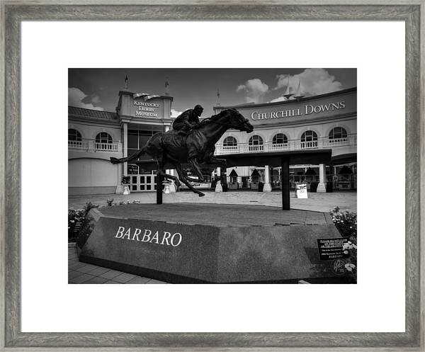 Framed Print featuring the photograph Churchill Downs 001 Bw by Lance Vaughn