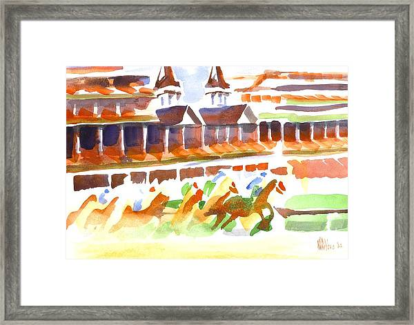 Churchill Downs Watercolor Framed Print