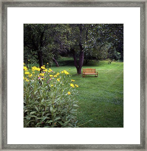 Framed Print featuring the photograph Churchyard Bench - Woodstock, Vermont by Samuel M Purvis III