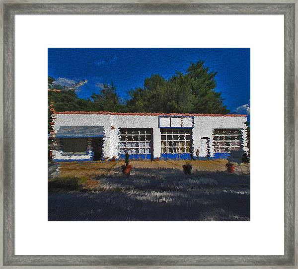 Churton St Blue Framed Print by David A Brown