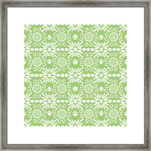 Cilantro- Green And White Art By Linda Woods Framed Print