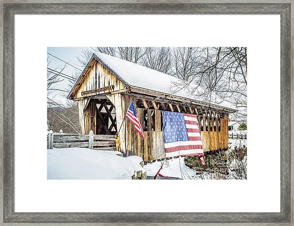 Cilleyville Bog Bridge Covered Bridge New Hampshire Framed Print