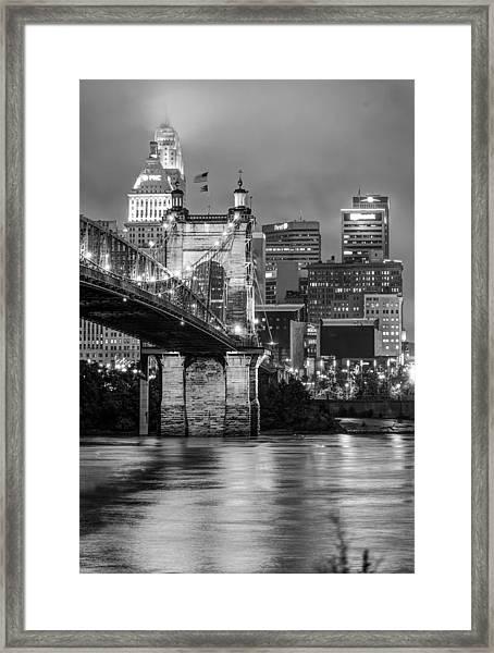 Cincinnati Ohio Skyline And Bridge - Black And White Framed Print
