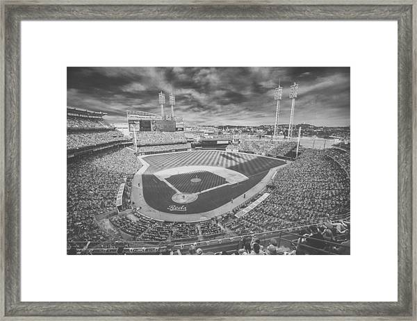 Cincinnati Reds Great American Ballpark Creative 6 Black White Framed Print