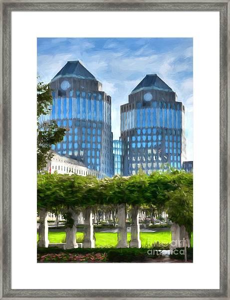 Cincinnati's Twin Towers Framed Print by Mel Steinhauer