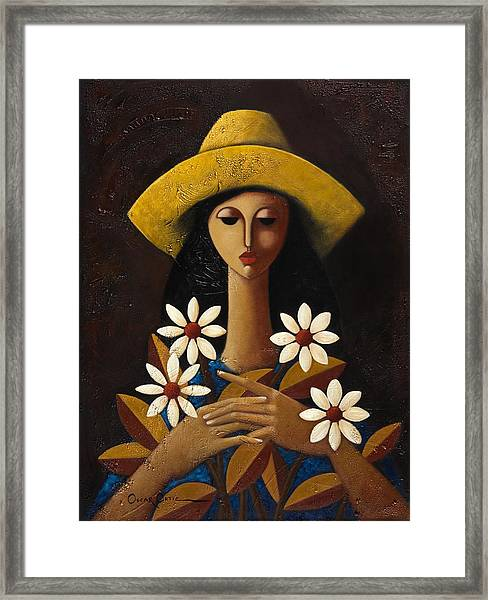 Framed Print featuring the painting Cinco Margaritas by Oscar Ortiz