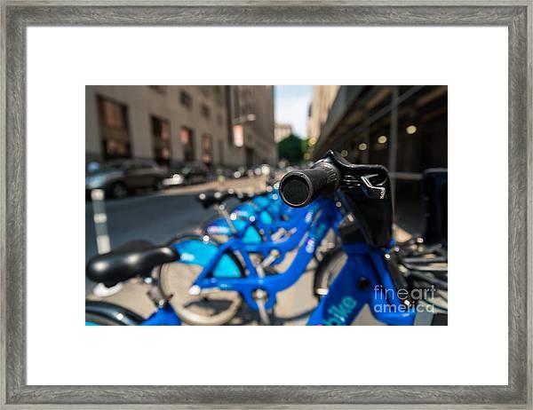 Citibike Handle Manhattan Color Framed Print