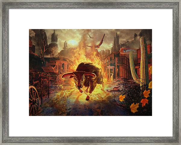 City Bull City Framed Print