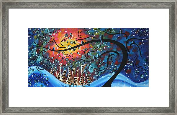 City By The Sea By Madart Framed Print