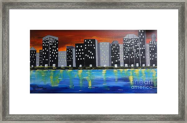 City Scape_night Life Framed Print