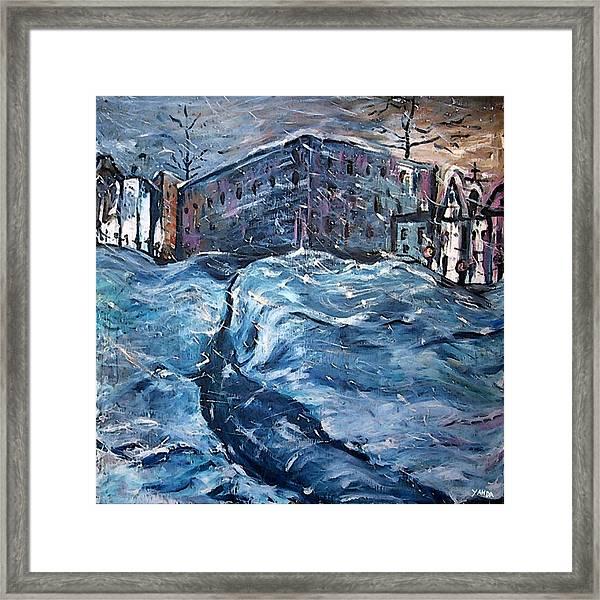 City Snow Storm Framed Print