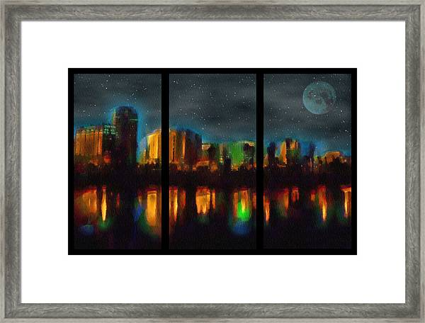 City Under A Blue Moon Framed Print