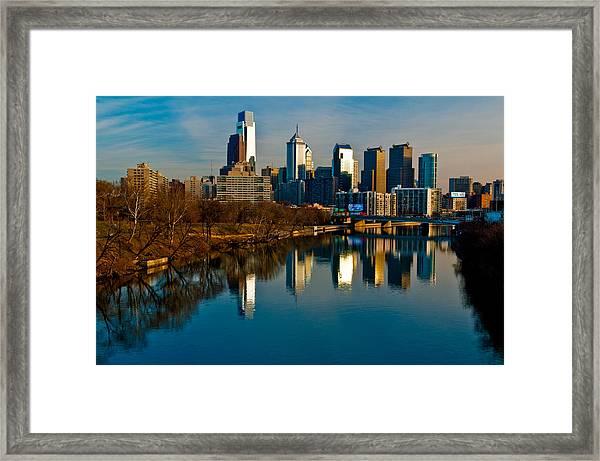 Cityscape Of Philadelphia Pa Framed Print