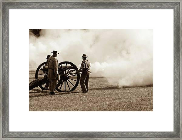 Civil War Era Cannon Firing  Framed Print
