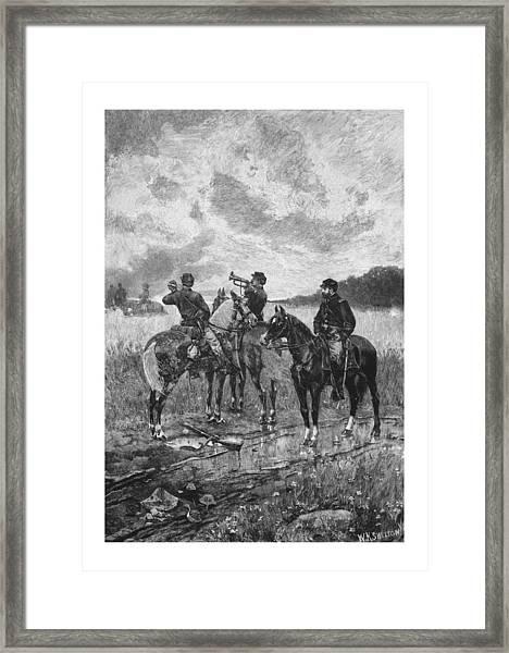 Civil War Soldiers On Horseback Framed Print