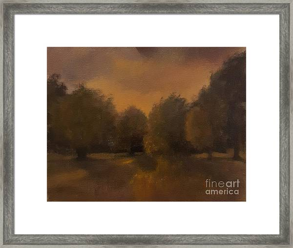 Framed Print featuring the painting Clapham Common At Dusk by Genevieve Brown