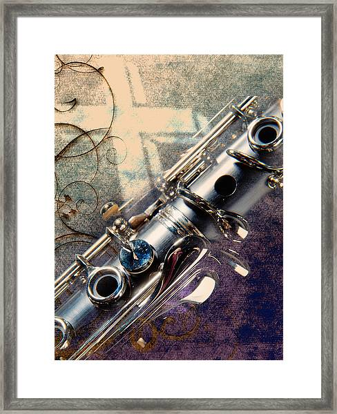Clarinet Music Instrument Against A Cross 3520.02 Framed Print