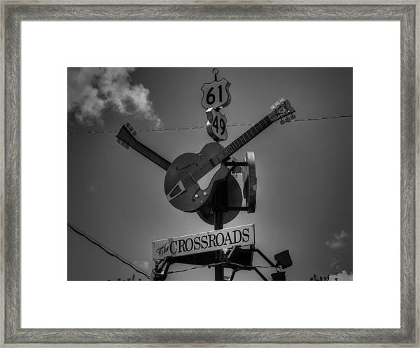 Framed Print featuring the photograph Clarksdale - The Crossroads 001 Bw by Lance Vaughn
