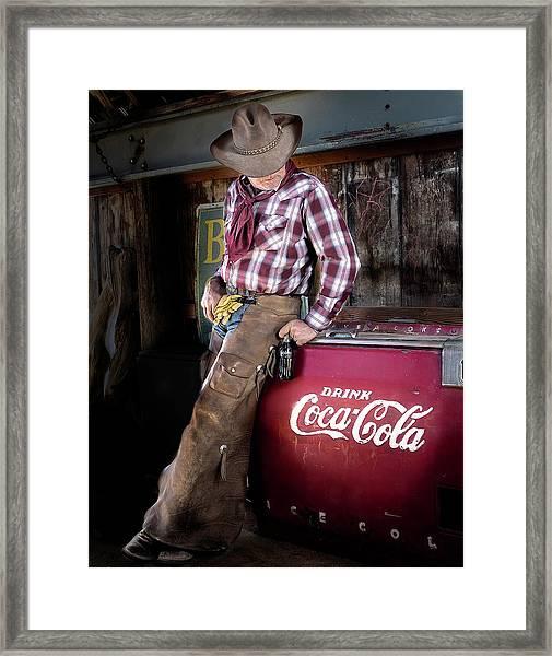 Classic Coca-cola Cowboy Framed Print