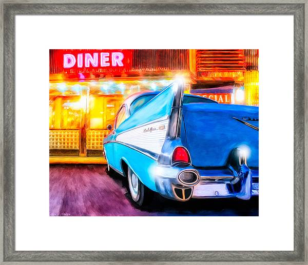 Classic Diner - 57 Chevy Framed Print