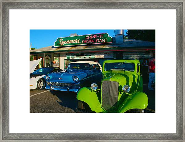 Classic Lime Green Car In Front Of The Sycamore Framed Print