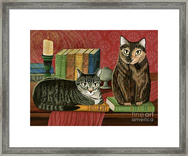 Classic Literary Cats Framed Print