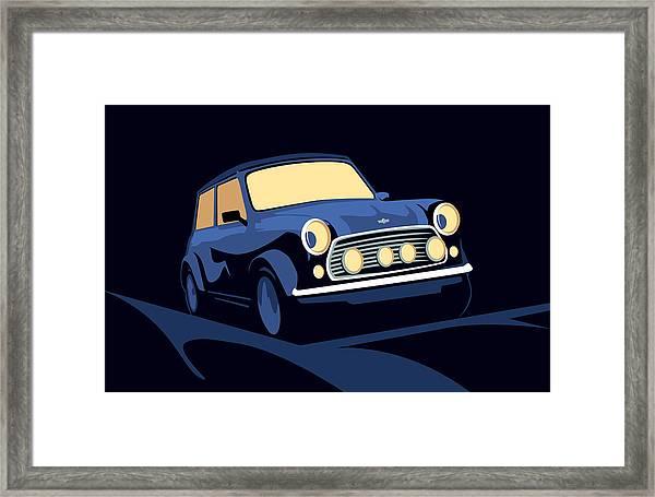 Classic Mini Cooper In Blue Framed Print