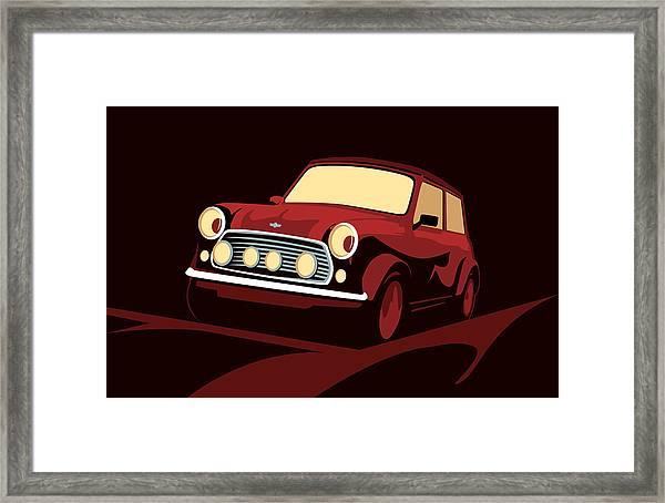 Classic Mini Cooper In Red Framed Print