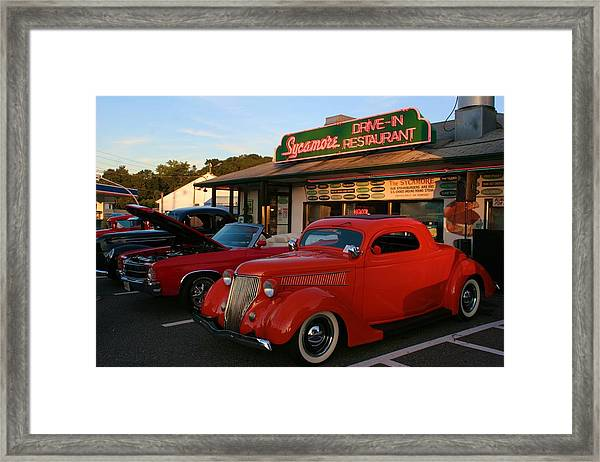 Classic Red Car In Front Of The Sycamore Framed Print