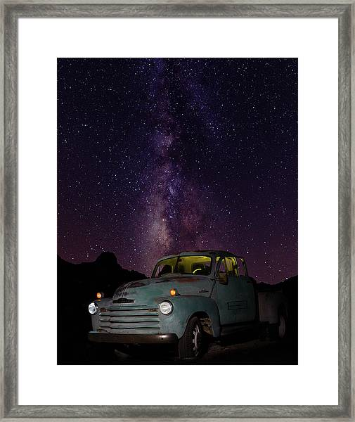 Classic Truck Under The Milky Way Framed Print