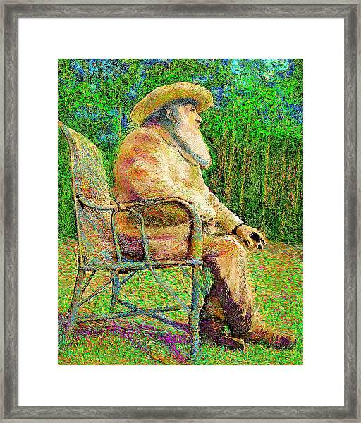 Claude Monet In His Garden Framed Print
