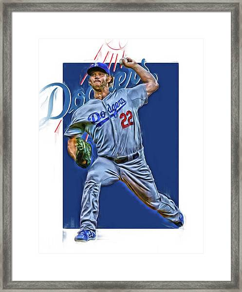 Clayton Kershaw Los Angeles Dodgers Oil Art Framed Print
