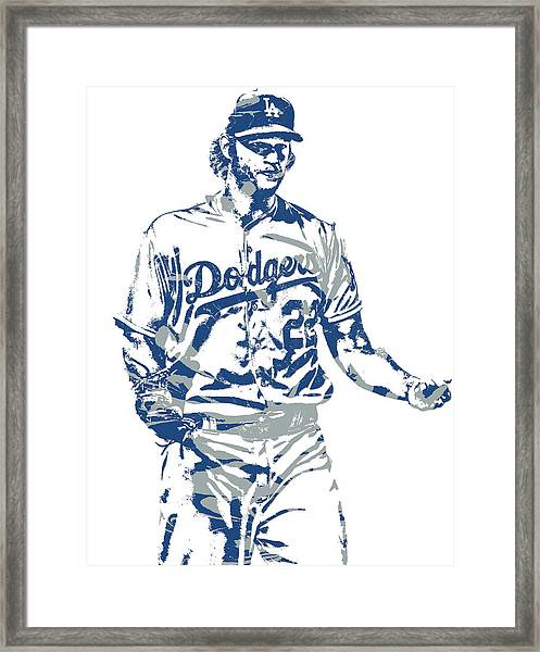 Clayton Kershaw Los Angeles Dodgers Pixel Art 10 Framed Print