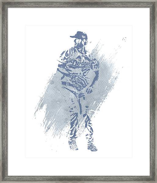 Clayton Kershaw Los Angeles Dodgers Water Color Art 2 Framed Print