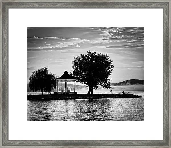 Claytor Lake Gazebo - Black And White Framed Print