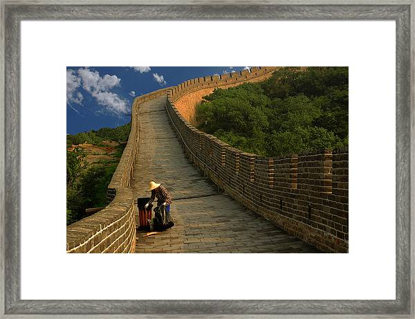 Cleaning The Great Wall Framed Print