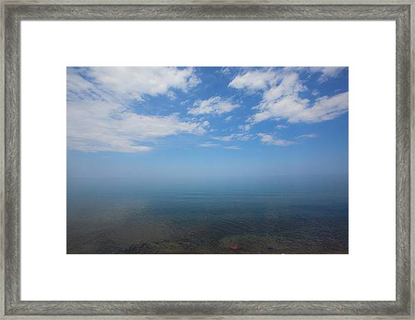 Clear Blue Waters With Clouds, Lake Superior Framed Print