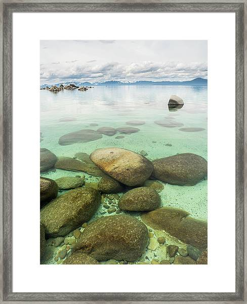 Clear Water, Stormy Sky Framed Print